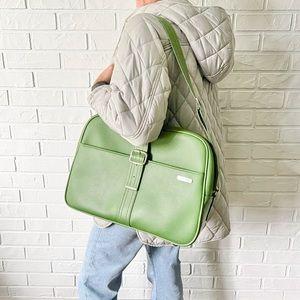 Rare vintage green vinyl Samsonite shoulder bag carry on luggage